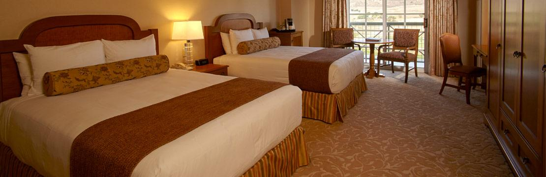 Interior of Barona Resort deluxe room with two beds