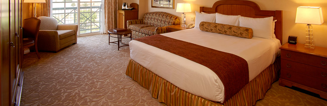 Interior of Barona Resort deluxe room with one bed