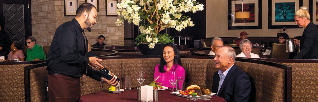 Interior and people dining at Barona Oaks Steakhouse